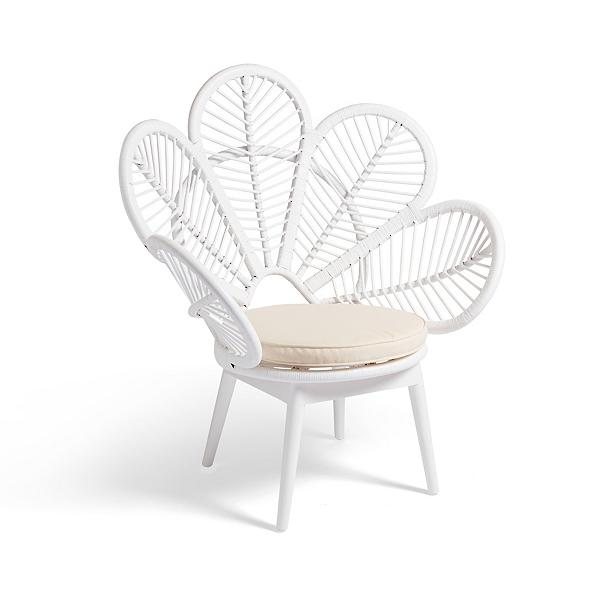 Daisy Petal Chair - White Rattan