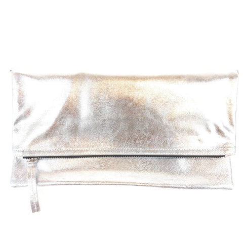 Manhattan Foldover Clutch - Silver Leather