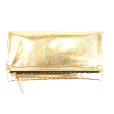 Manhattan Foldover Clutch - Gold Leather