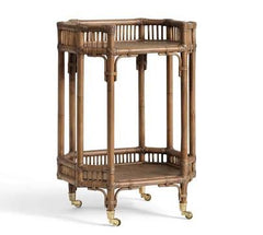 rattan bar cart antique