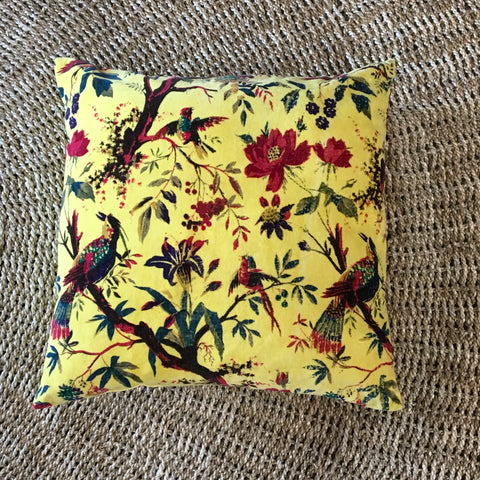 Birds of Paradise Yellow Velvet Cushion 50x50