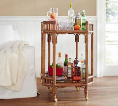 Hamptons Rattan Bar Cart - Antique Rattan