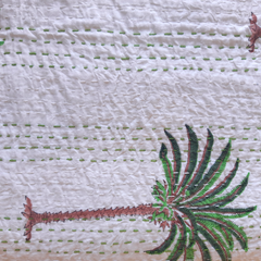 Kantha Quilt - Green - Queen