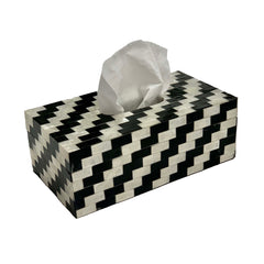 B&W Tissue Box | Resin and Mother of Pearl
