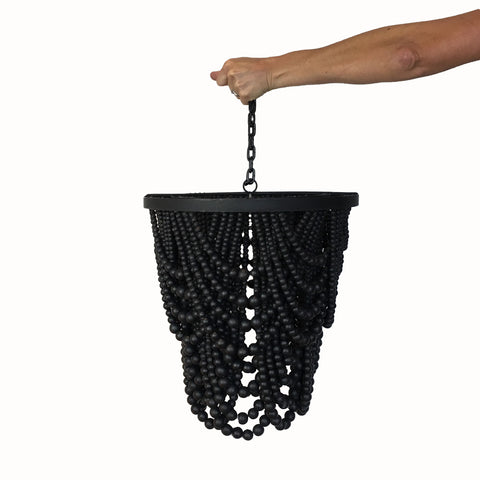 Drama Wooden Beaded Chandelier - Black