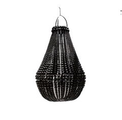 Empire Wooden Beaded Chandelier - Black