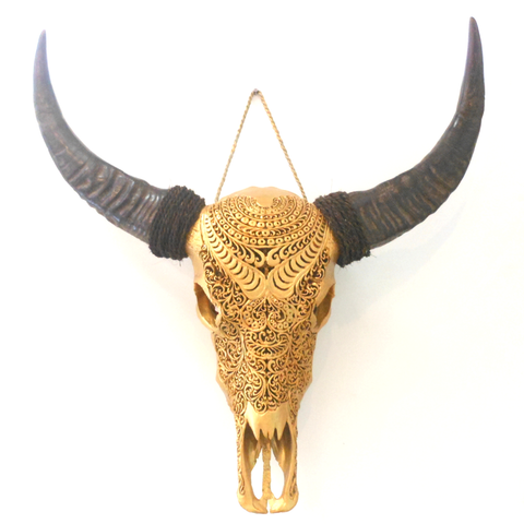 Painted Antique Gold /  Brass Skull