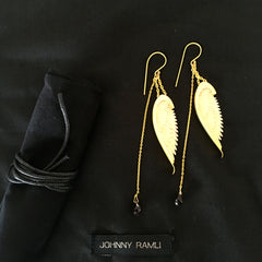 Johnny Ramli Angel Wing Earrings (Gold and White)