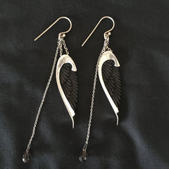 Johnny Ramli Angel Wing Earrings (Silver and Black)