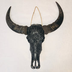 Genuine Carved Buffalo Skull (Black)