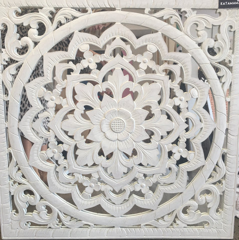 Carved relief mirror - whitewash