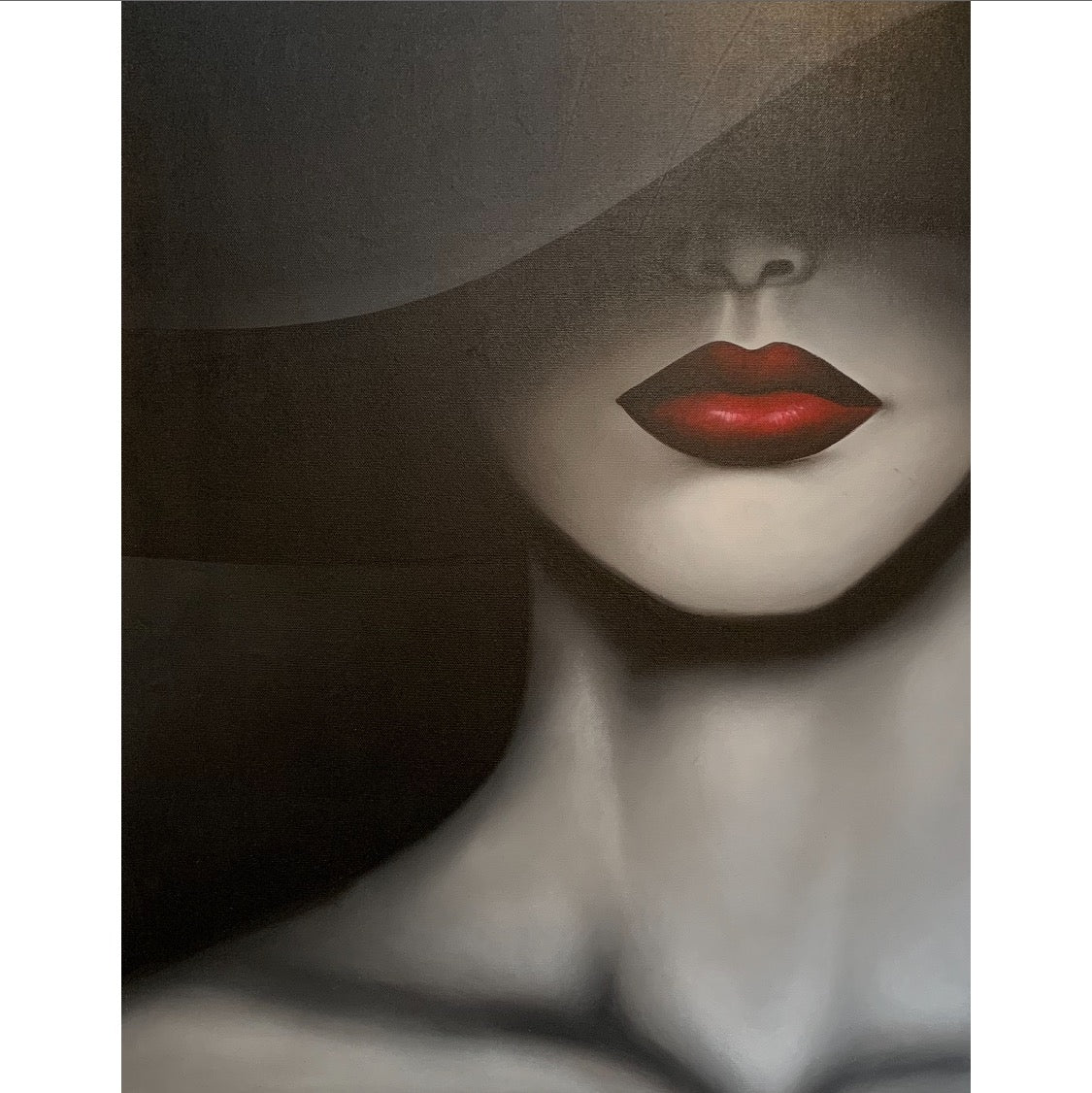 handpainted wall art, black and white lady with red lips