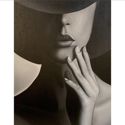 Black and white painting of lady; wall art