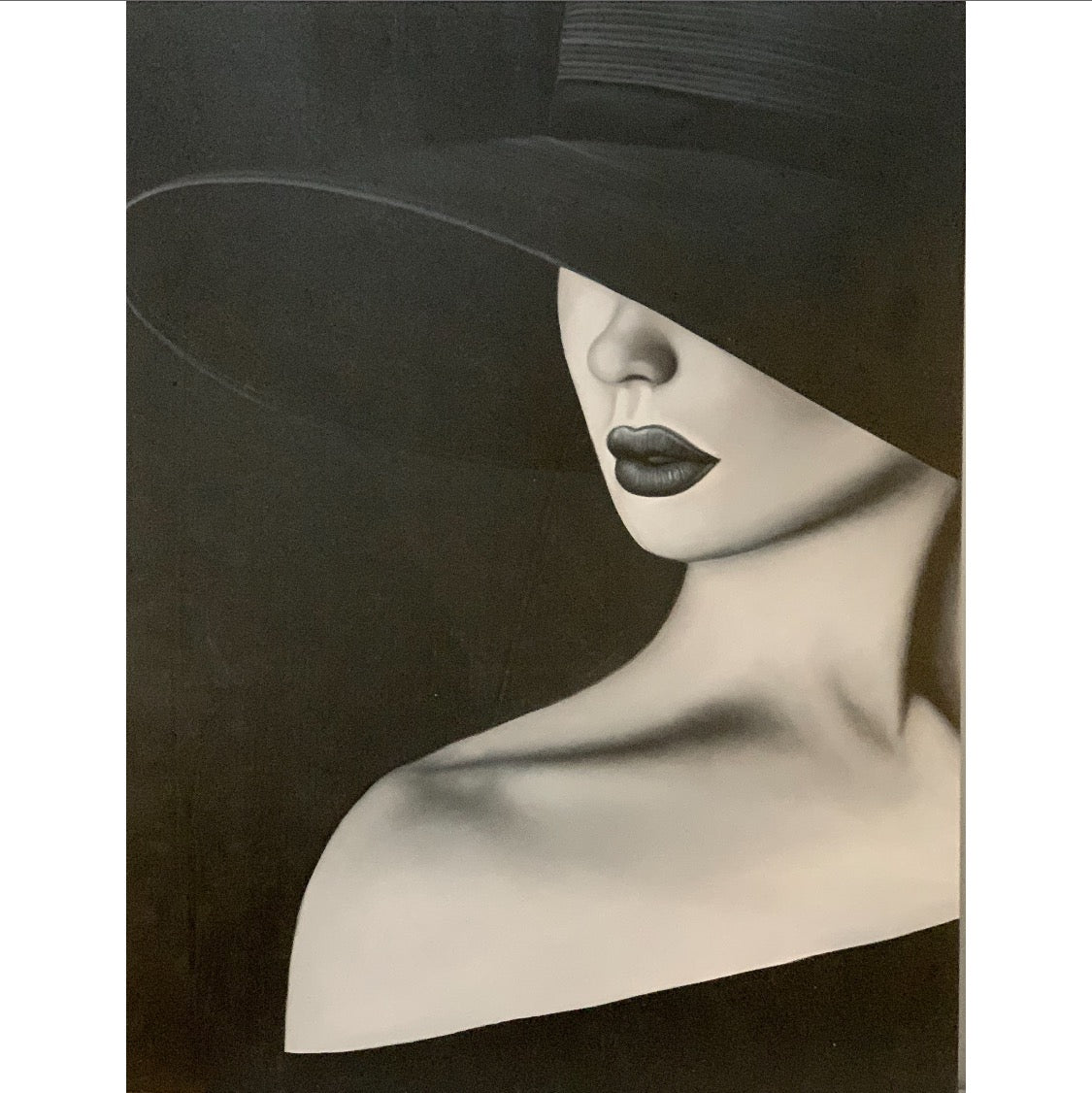 black and white painting, lady with hat, cold shoulder