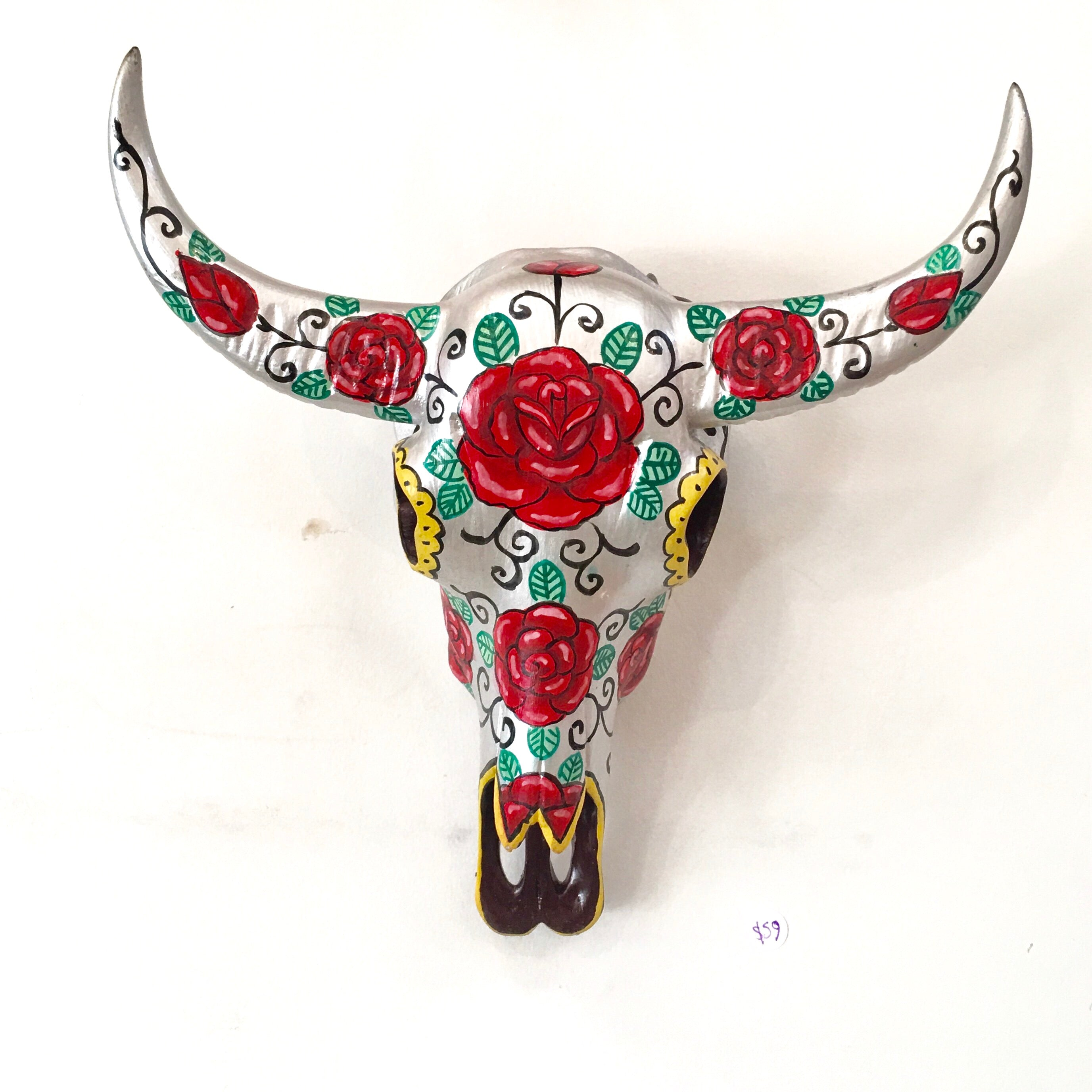 Buffalo Skull (Resin) - Mexican Silver and Roses