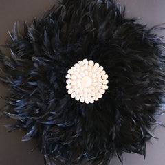 Feather juju wall hanging with shells - Black