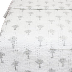 Kantha Quilt - Oasis Palm Black & White - King Bed
