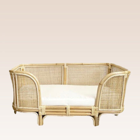 Havana Rattan Weave Dog Bed (Medium) - Natural Rattan