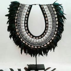 Tribal Necklace - Black feathers with beading