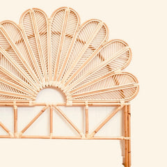 Daisy Petal Bedhead - Natural Rattan - Single/King Single