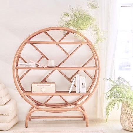 circle rattan shelves bookshelf