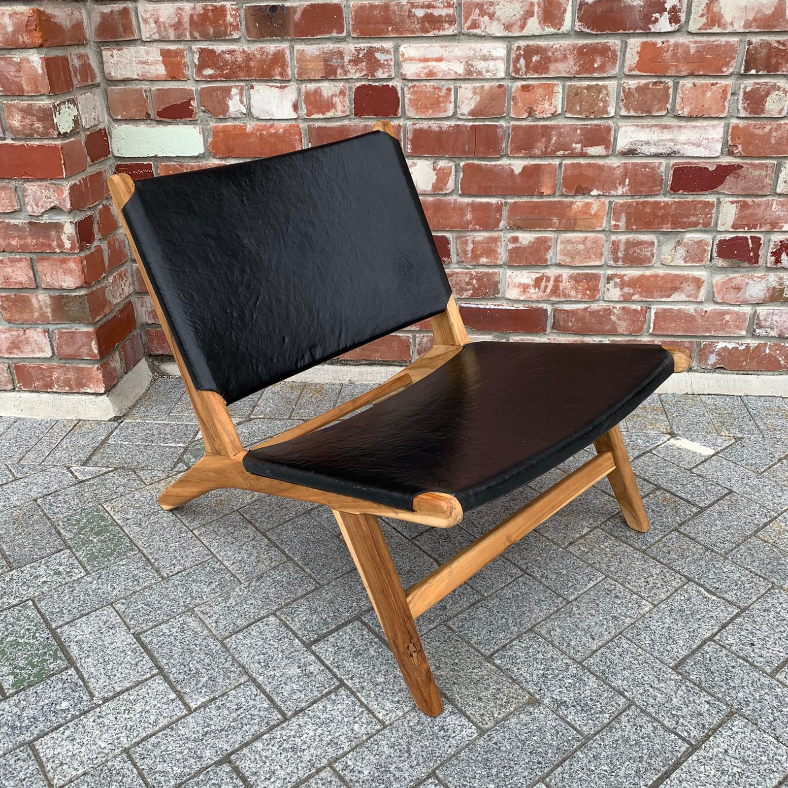 Marlborough Leather and Teak Occasional Chair