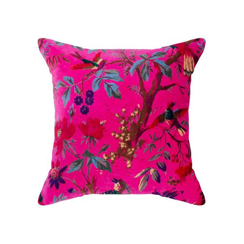 Bird of Paradise Pink Velvet Cushion 50x50