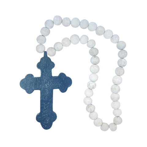 Gothic Wooden Cross with Beads - Navy