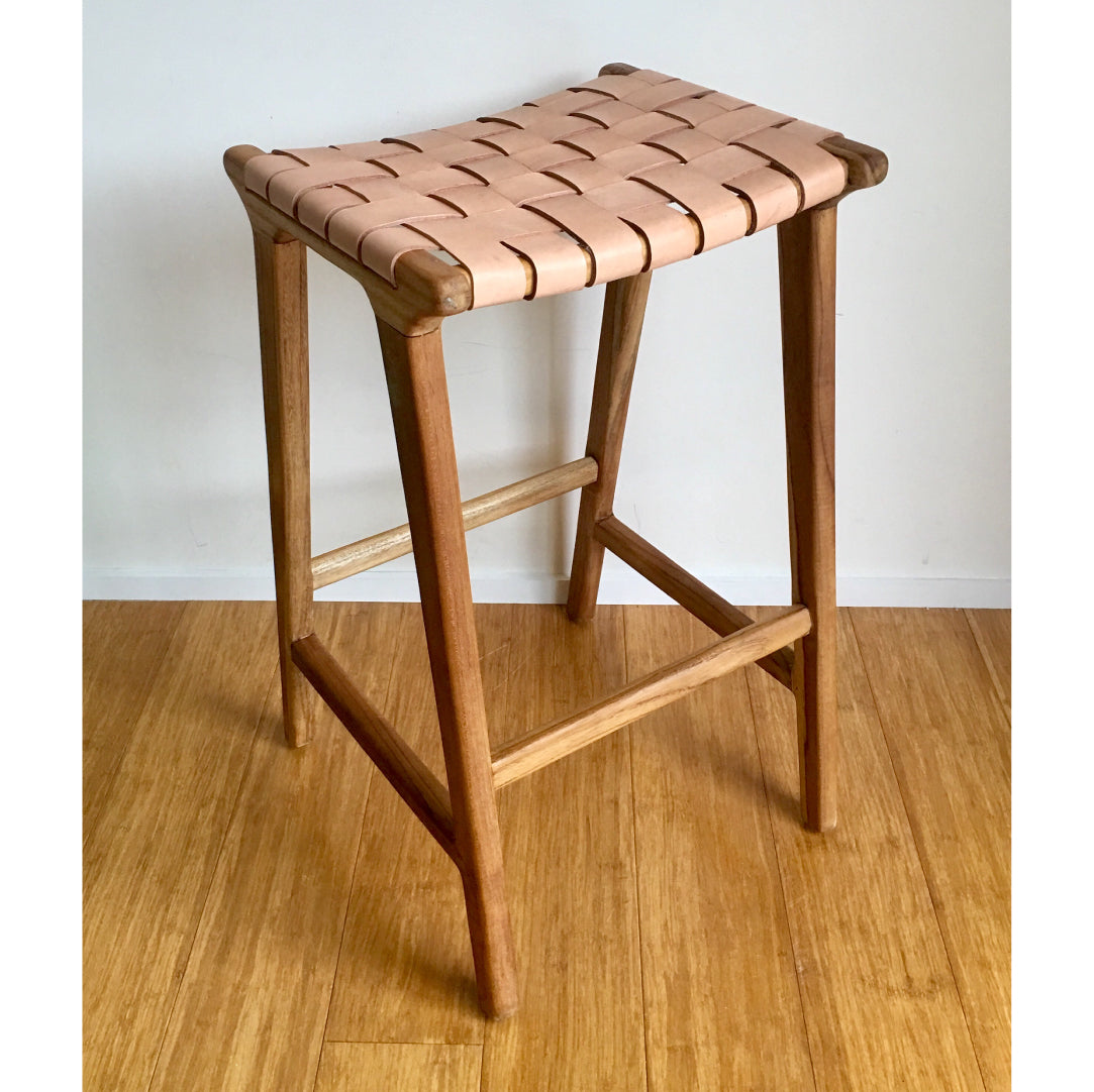 Bronte Woven Leather Bar Stools