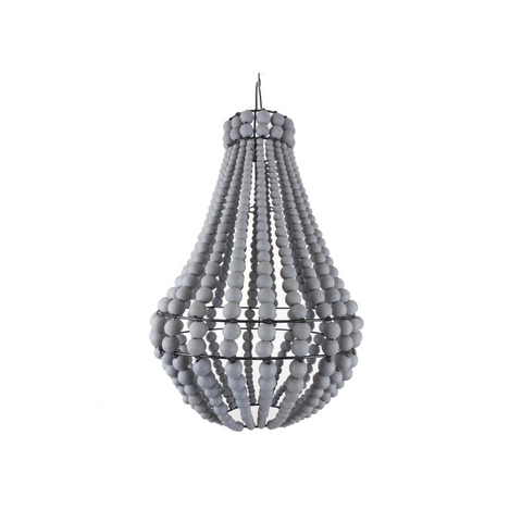 Empire Wooden Beaded Chandelier - Grey