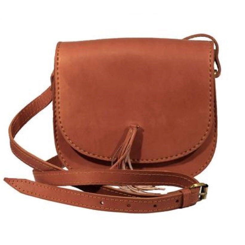 Tan Leather Cross-Body Saddle Bag