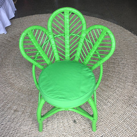 Kata-Kids Daisy Petal Rattan Chair - Forest Green