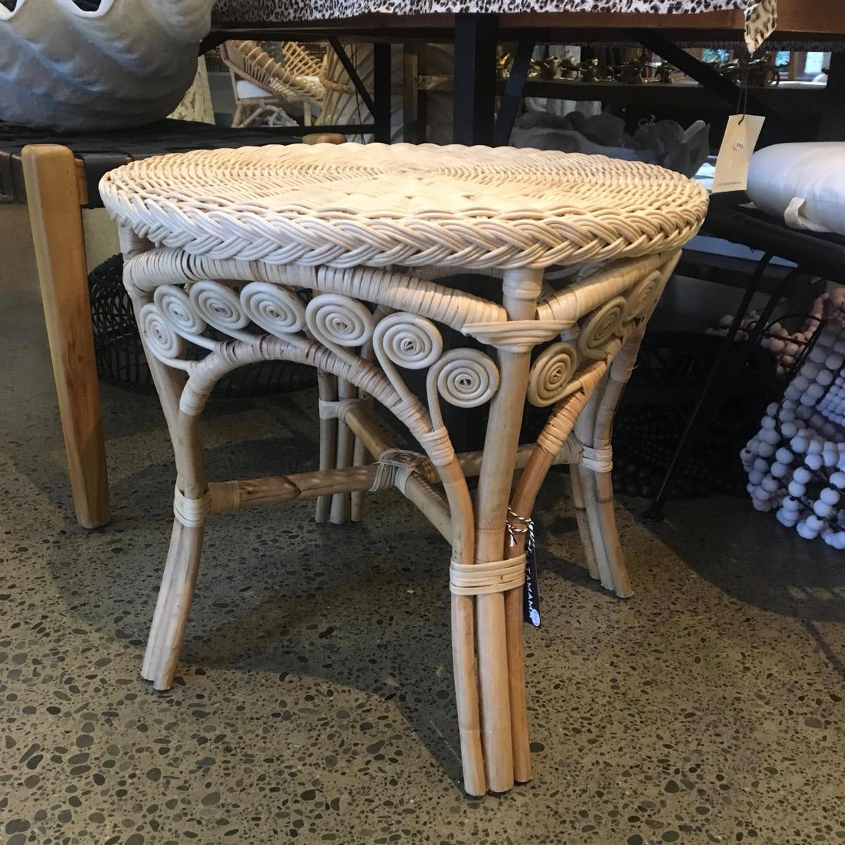 Peacock rattan side table