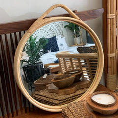 Bamboo framed circle mirror