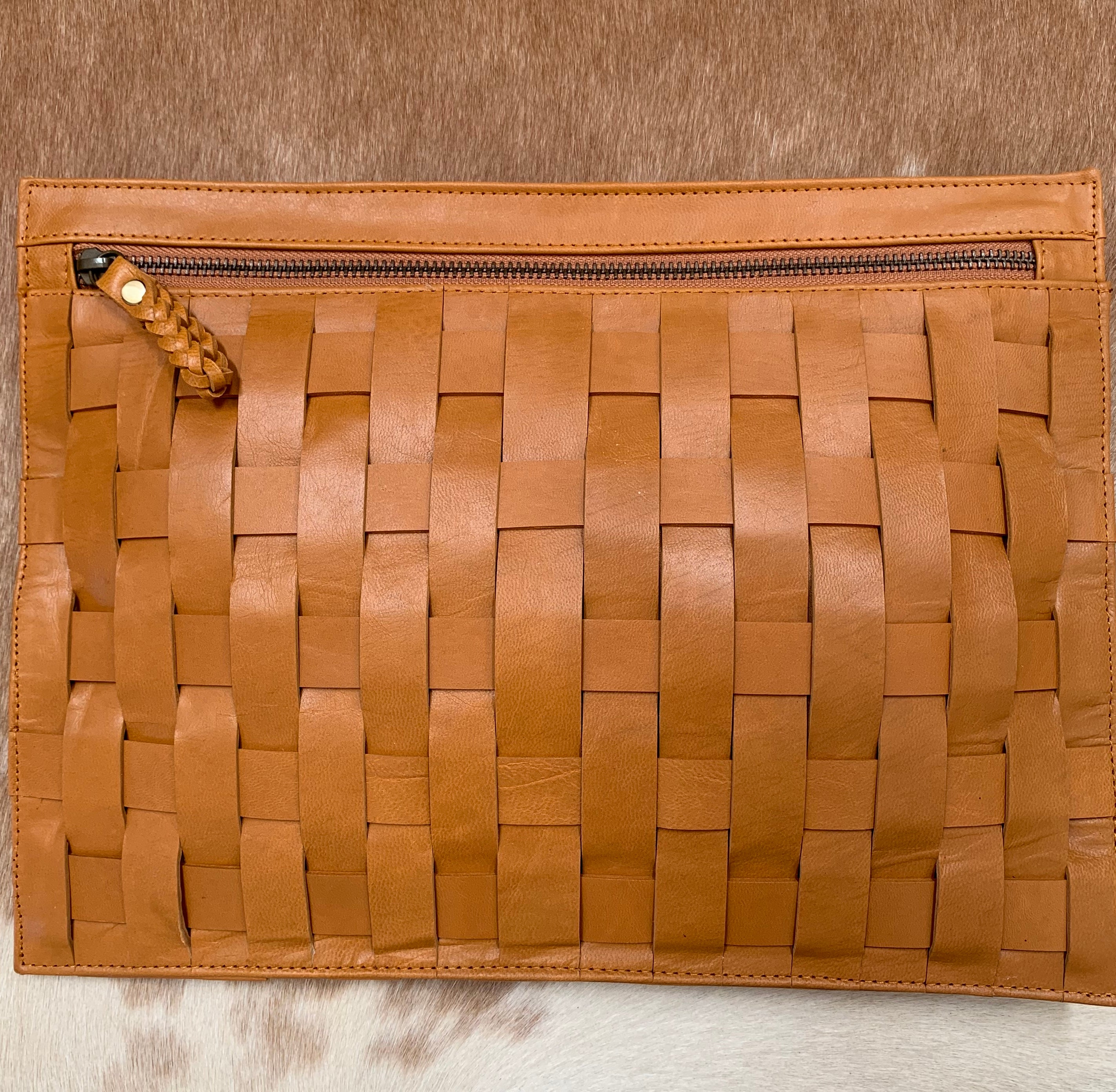 Cross Weave Leather Satchel