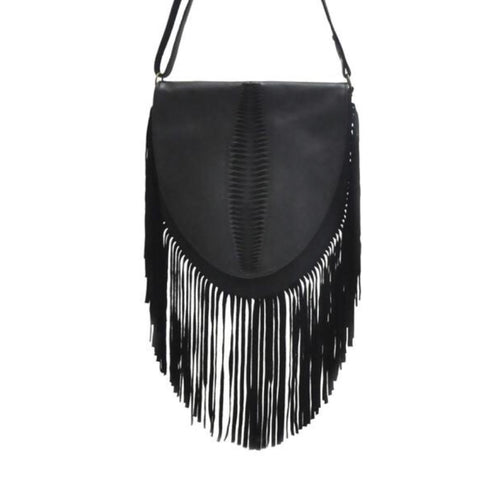 Sarina Fringe Crossbody - Black
