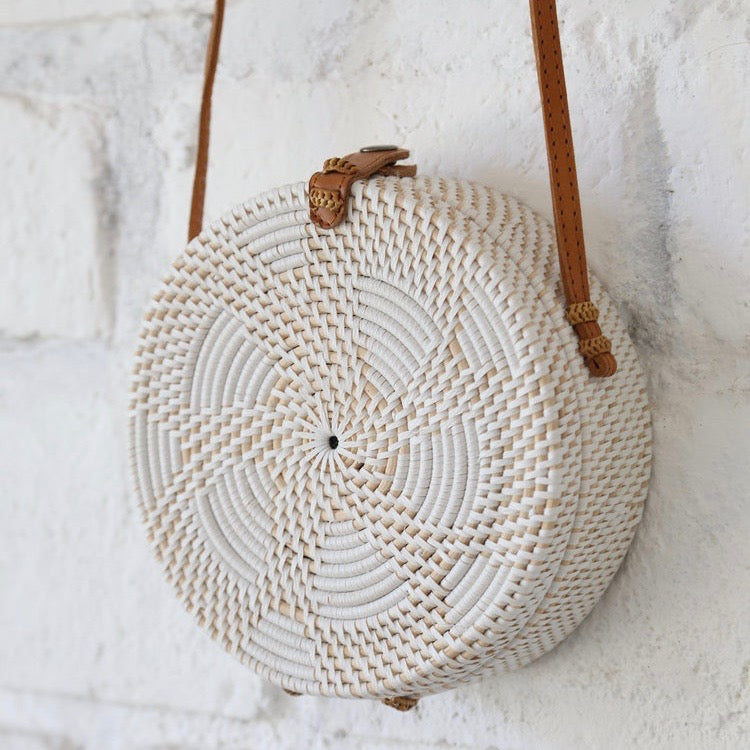 Paddington Round Rattan Bag - White
