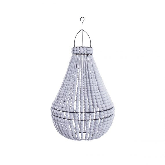 Empire Wooden Beaded Chandelier - White