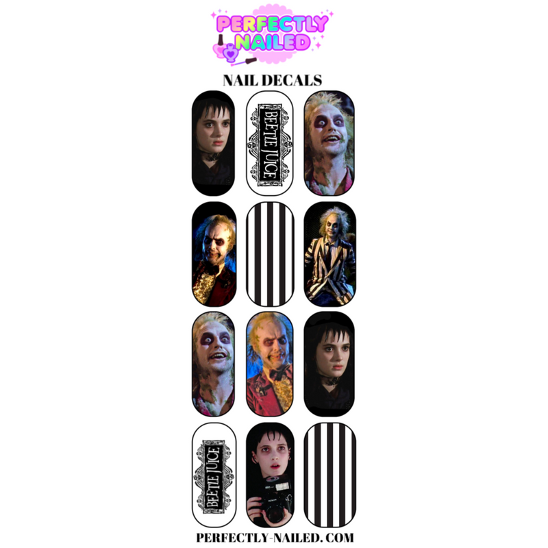 Beetlejuice Nail Decals