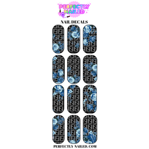 Black Floral Blue Fendi Nail Decals