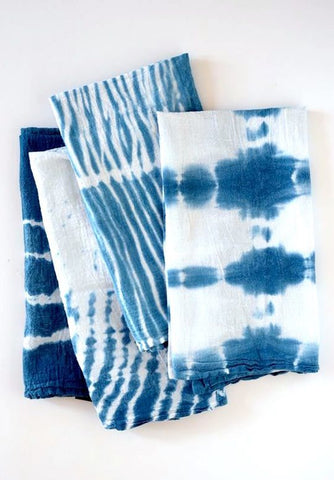 Shibori Indigo Dyed Napkins (set of 4)
