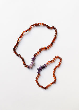 Raw Cognac Amber + Raw Amethyst Necklace