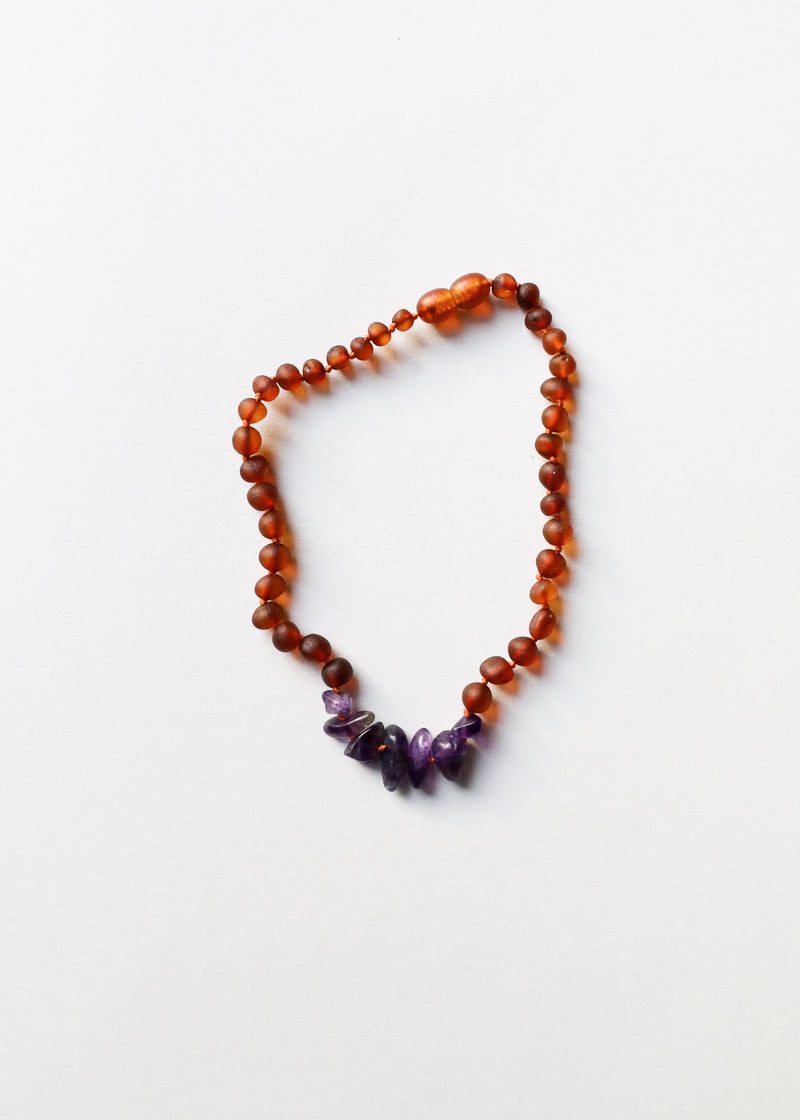 Raw Cognac Amber + Raw Amethyst || Mommy & Me || Necklaces