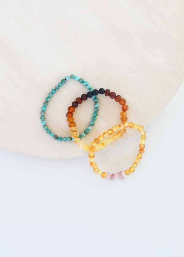 Natural Turquoise + Ombre + Raw Amber with Rose Quartz || Adult Bracelet Set 1
