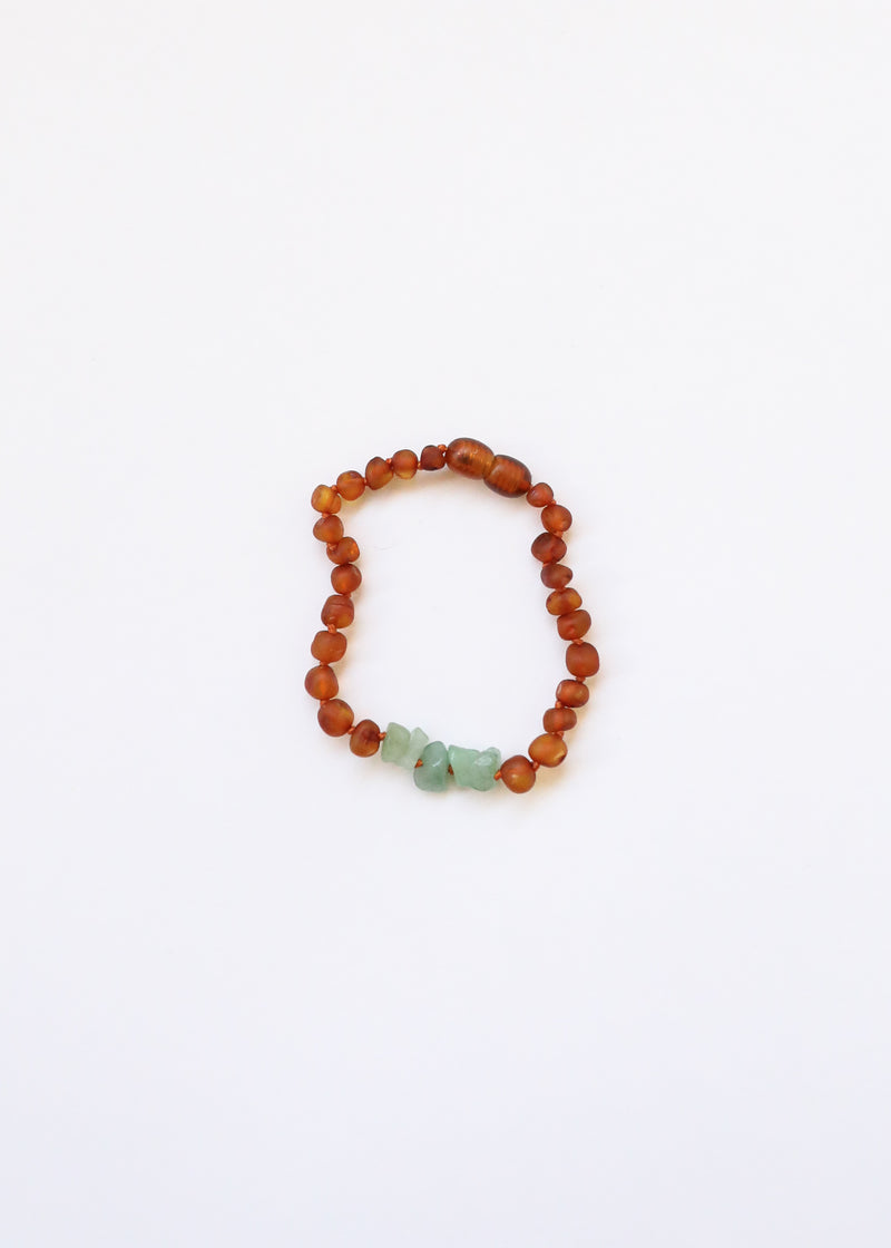 Raw Cognac Amber + Raw Aventurine || Anklet or Bracelet