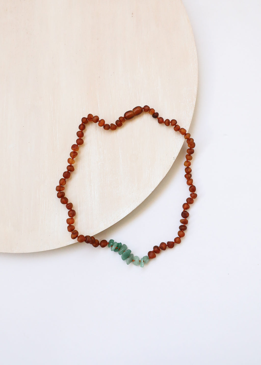 Raw Cognac Amber + Raw Aventurine || Necklace