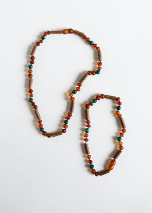 Hazelwood || Raw Amber + Malachite ||  Necklace