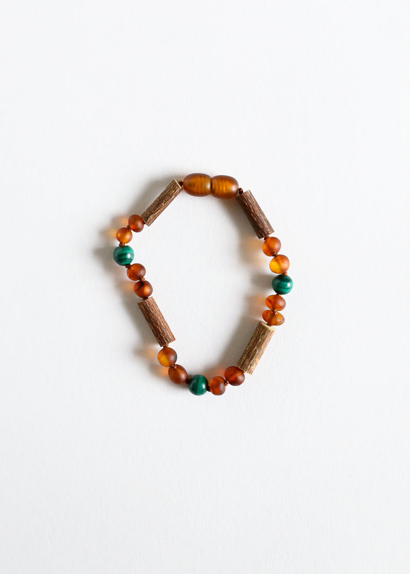 Hazelwood || Raw Amber + Malachite || Anklet or Bracelet