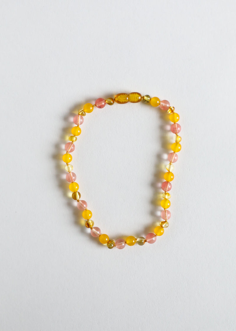 Polished Honey Amber + Honeysuckle Gemstone || Necklace