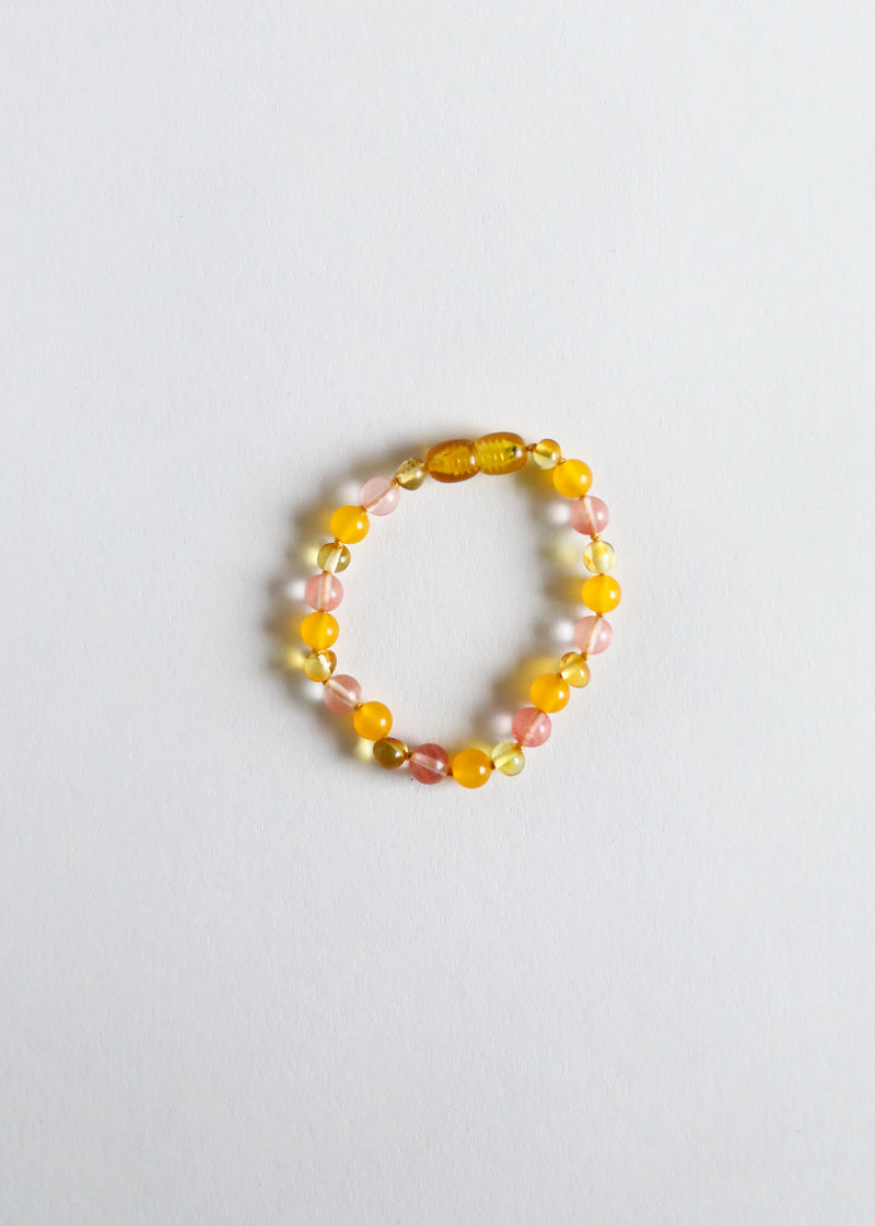 Polished Honey Amber + Honeysuckle Gemstone || Anklet or Bracelet